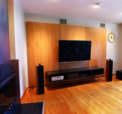 Custom Made Media Console Cabinet And Wall Panels