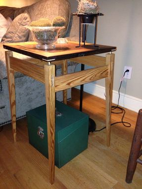 Custom Made Reclaimed Pine End Table With Quilted Mahogany Top