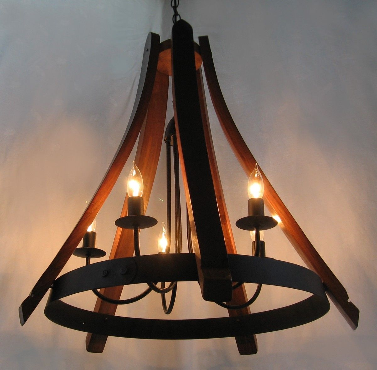 Buy a hand made cervantes wine barrel chandelier recycled oak staves and hoop pendant ceiling - Ceiling lights and chandeliers ...