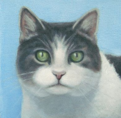 Custom Made Original Cat Painting - Gray And White Cat Portrait 8x8- 10% Benefits Animal Rescue