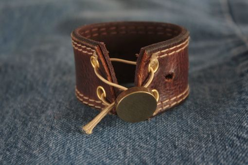 Custom Made Get On The Bus- Upcycled Belt Leather Cuff-Silverware Jewelry