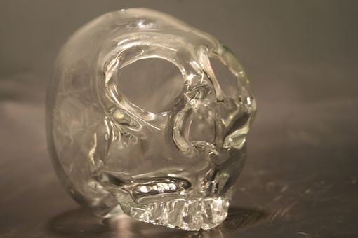 Custom Made Clear Blown Glass Crystal Skull