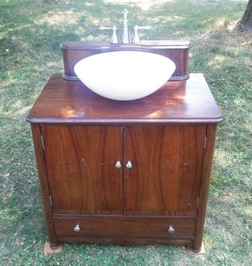 Custom Made Re-Purposed Walnut Bathroom Vanity
