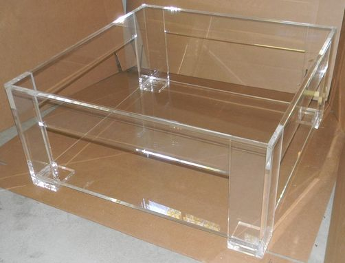 Custom Made Coffee Table With Shelf - Lucite / Acrylic - Handcrafted Piece, Custom Sizing Welcome