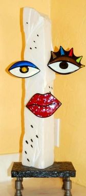 "Custom Made Marble Sculpture With Fused Glass Elements - ""Bette Davis Eyes"""