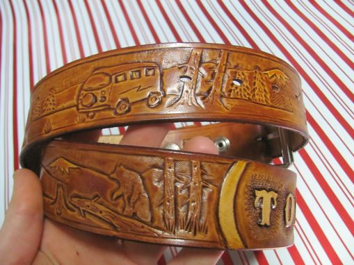 Custom Made Hand Carved Belt With Wilderness Scene And A Vw Bus