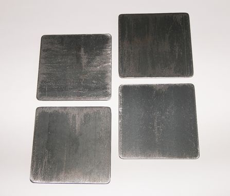 Custom Made Industrial Steel Coasters, Distressed Metal Beverage Coaster, Set Of 4 Drink Coasters