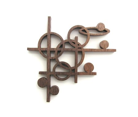 Custom Made Black Walnut Mid-Century Modern Classic Wall Art (767-3)