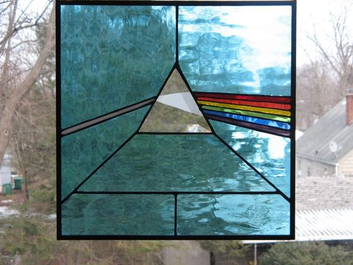 Custom Made Bright Classic Blue Stained Glass Dark Side Of The Moon Pink Floyd