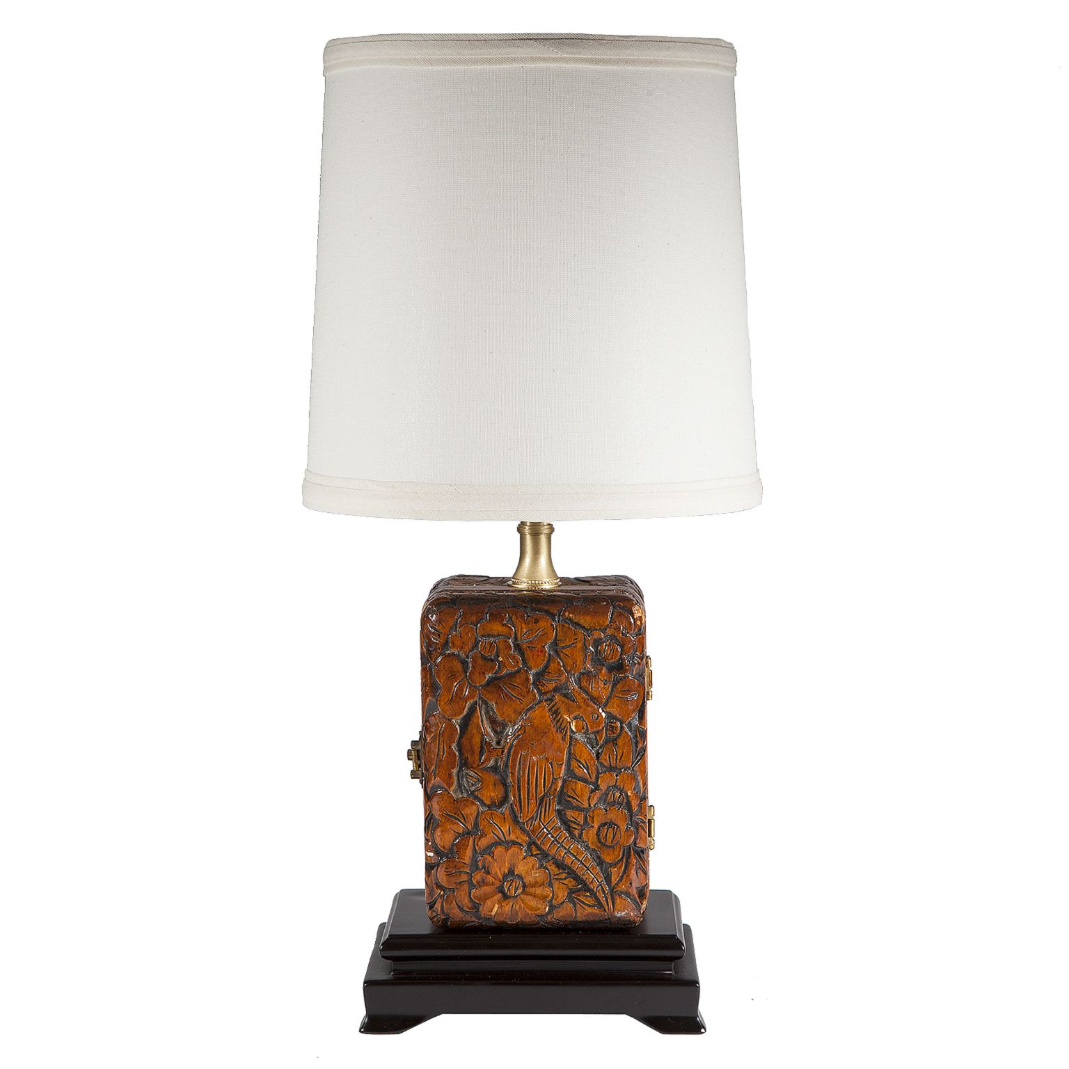 Custom lamps custommade vintage carved wood box lamp by max shuster geotapseo Gallery
