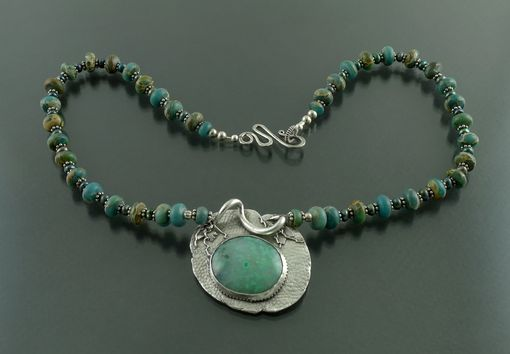 Custom Made Jasper Necklace With Chrysoprase And Fine Silver Pendant