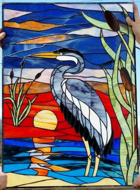 "Custom Made Stained Glass Panel - ""A Heron On The Sunset"" (P-53)"
