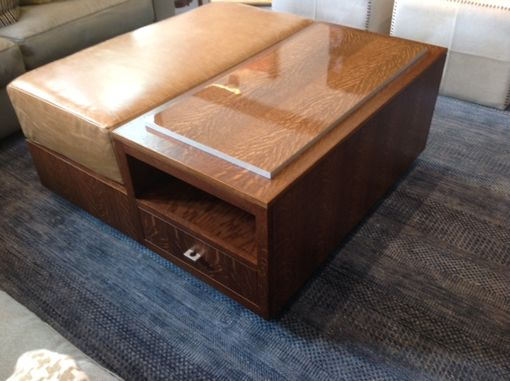 Custom Made Coffee Table With Drawers And Attached Tray