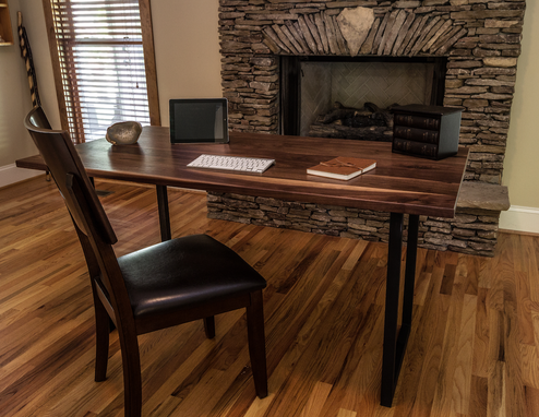 Custom Made Walnut Wood Desk, Modern Walnut Desk