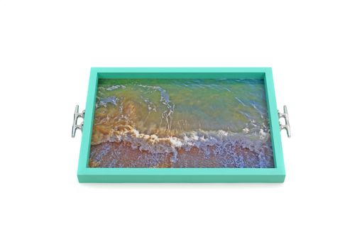 Custom Made Waves Tray+Wall Art With Boat Cleat Handles