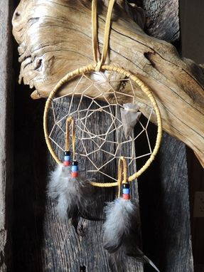 "Custom Made 6"" Dream Catcher, Handcrafted - Arrowhead - Wrapped Leather & Feathers, Native American Decor"