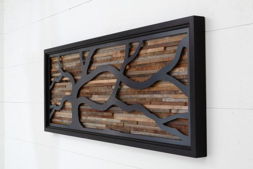 Custom Made Wood Wall Art Made Of Old Barnwood And Natural Black Steel