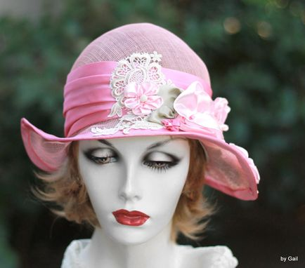Custom Made Summer Shabby Chic Pretty Pink Hat Sinamay Sun Flowers Lace