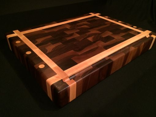 Custom Made Black Walnut And Rock Maple End Grain Chopping Block