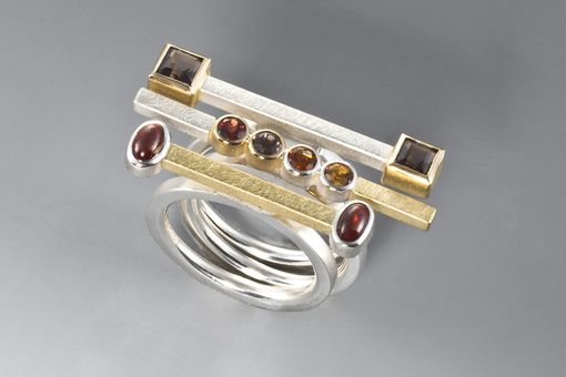 Custom Made Ring - Sterling Silver, 18kt, Smokey Quartz, Garnet, Citrine