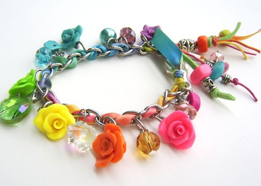 Custom Made Neon - Multicolored Stainless Steel And Polymer Clay Charm Bracelet