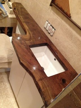 Custom Made Walnut Sink Counter Top And Wall Shelf