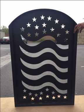 Custom Made Metal Art Gate American Flag Pedestrian Walk Thru Garden Iron Made In Usa