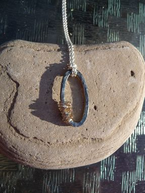 Custom Made Hammered Sterling Silver Oval Pendant With Diamond Beads