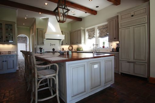 Custom Made Custom Kitchen With Glazed Cabinets