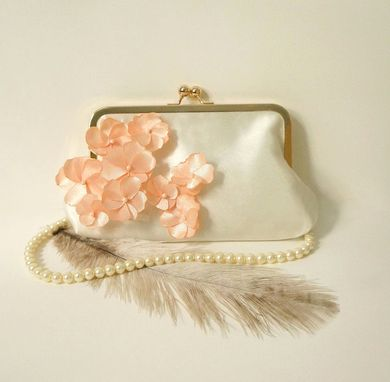 Custom Made Ivory Clutch Purse With Peach Flower Adornments
