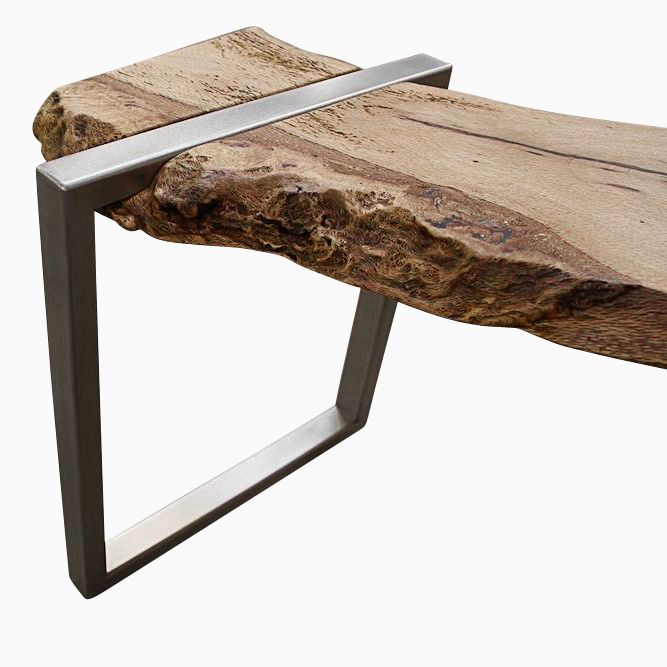 Buy A Hand Made Live Edge Oak Slab And Stainless Steel