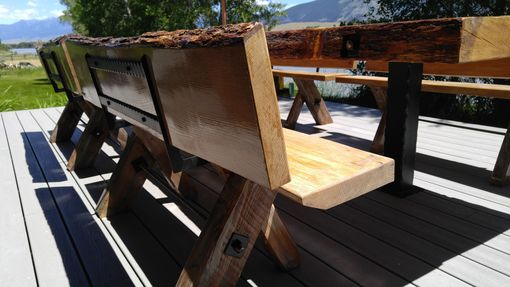 "Custom Made 4"" Thick Live Edge Oak Picnic Table & 4 Benches"