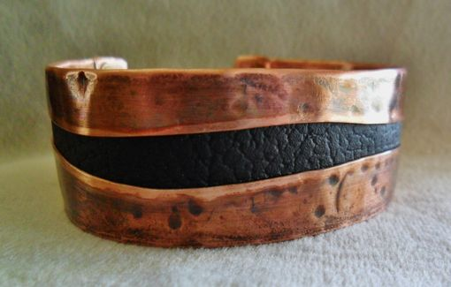 Custom Made Chocolate Brown Leather Copper Cuff