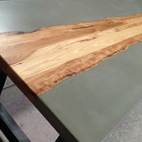 concrete and wood furniture. Industrial Concrete Dining Table With Hardwood Inlay By Don Messina And Wood Furniture