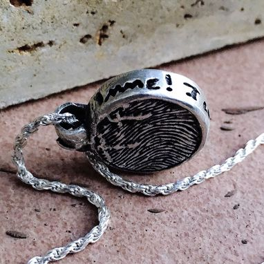 Custom Made Sterling Silver Fingerprint And Handwriting Pendant With Leaf Bail