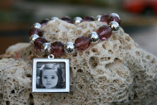 Custom Made Photo Bracelet, Photo Charm Bracelet, Purple/Lavender Beaded Bracelet