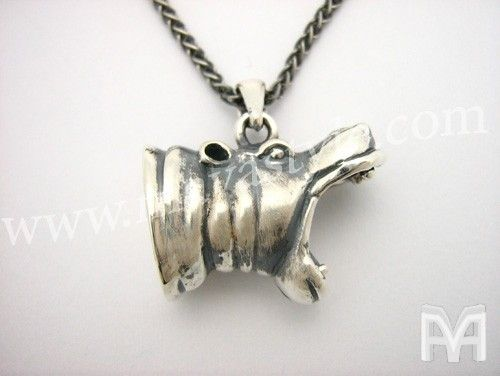 Custom Made Sterling Silver Hippo Hippopotamus Animal Pendant