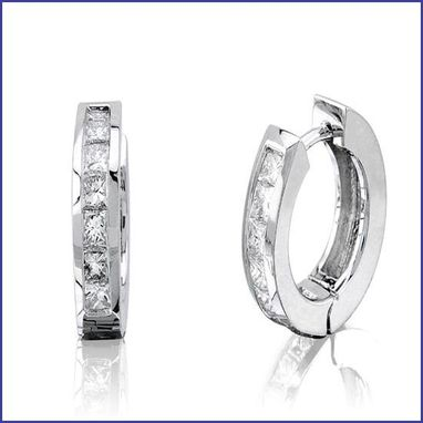 Custom Made White Gold Diamond Hoop Earrings