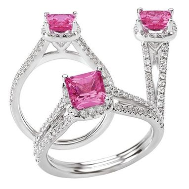 Custom Made 18k Chatham 5.5mm Princess Cut Pink Sapphire Engagement Ring With Split Shank