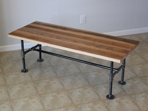 Custom Made Reclaimed Barn Wood Coffee Table With Industrial Pipes
