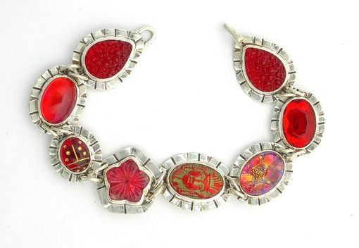 Custom Made Vintage Glass Bracelet-Link Bracelet Red