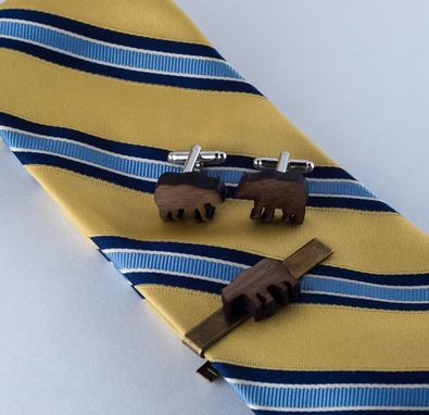 Custom Made Cufflinks: Walnut Veneer Bears