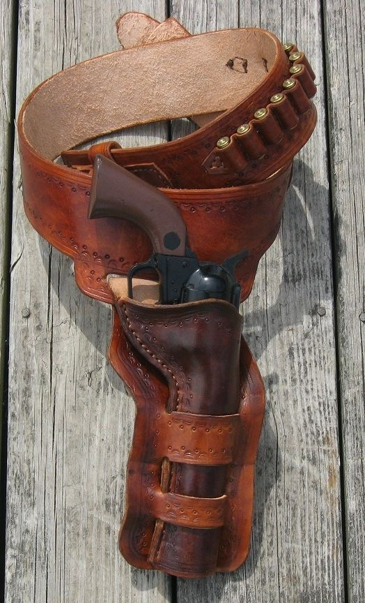 Hand Made Western Gun Belt And Double Loop Holster By Red