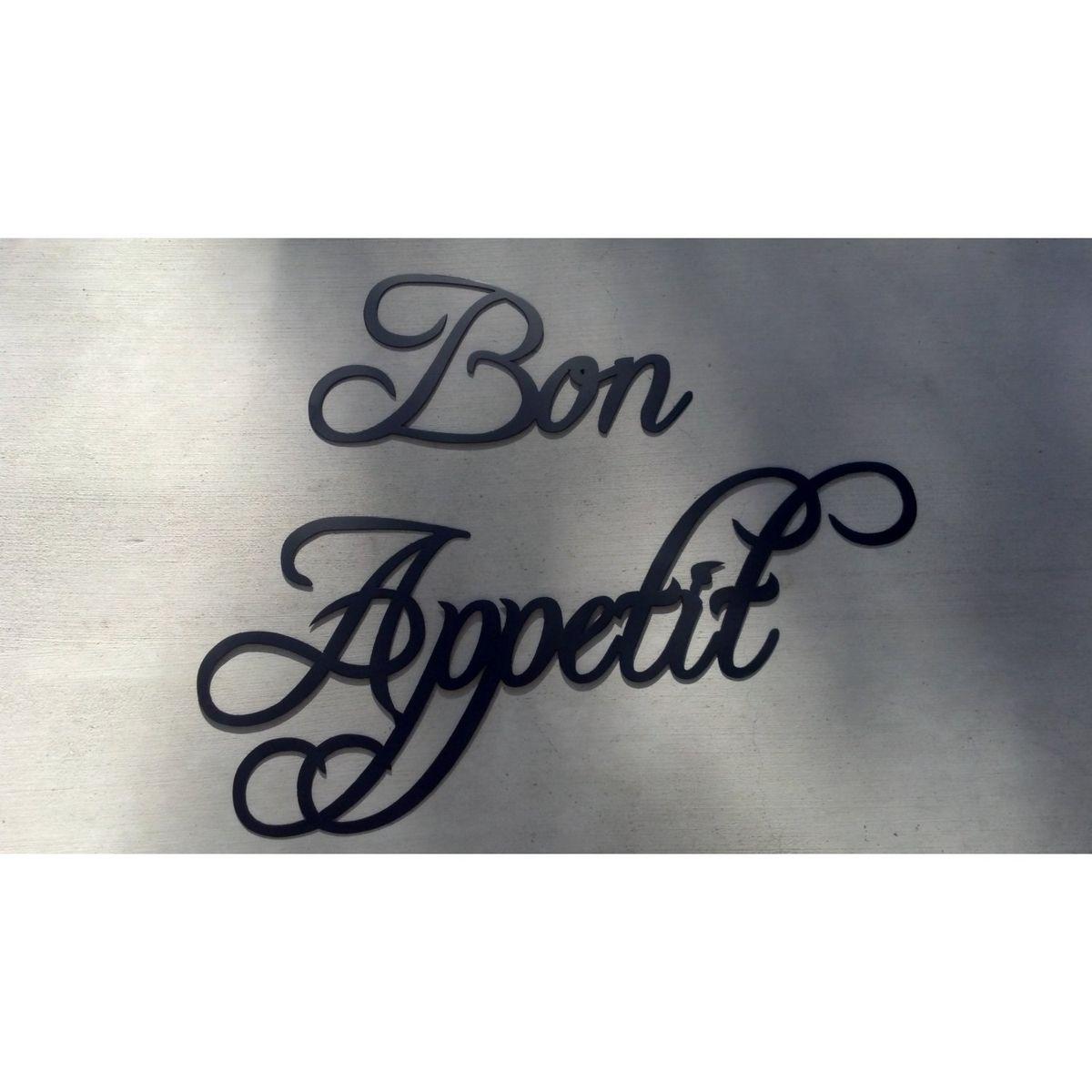 Custom made bon appetit words black home kitchen decor metal wall art