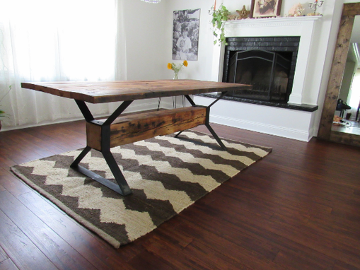 Custom Made Industrial Trestle Reclaimed Wood Dining Table