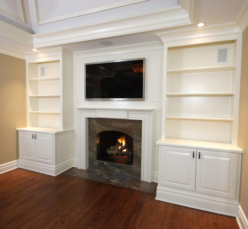 Hand Crafted Built-In Cabinets With Mantel 1 by Fanatic Finish ...