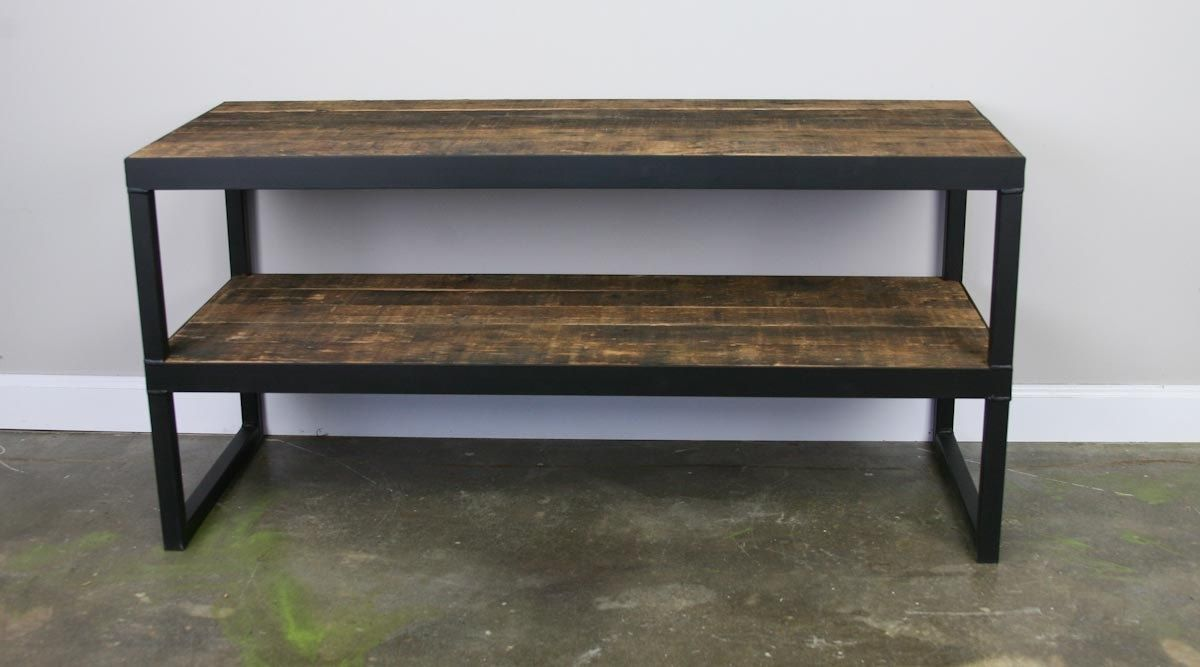 A Hand Made Tv Stand Reclaimed Wood Steel Minimalist Urban Design Media Console To Order From Combine 9 Custommade