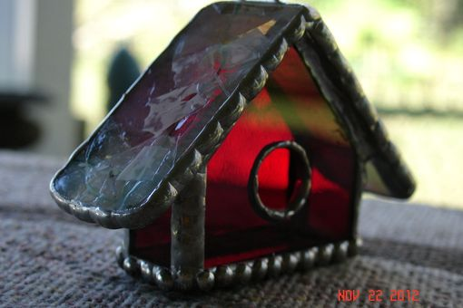 Custom Made Empty Nest Bird House Ornament In Stained Glass
