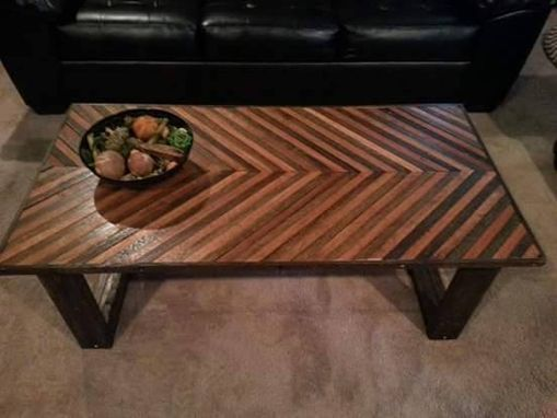 Custom Made Reclaimed Oak Wood Coffee Table Chevron Style