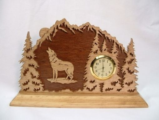 Custom Made Wolf In The Forest  3-D Desk Clock